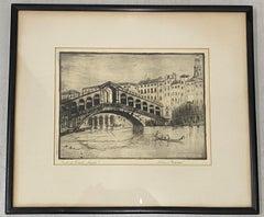 """Vintage Etching """"Rialto Bridge, Venice, Italy"""" Circa 1930s"""