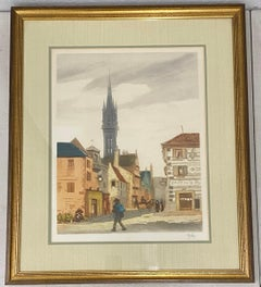 Vintage European School Hand Colored Lithograph C.1940s