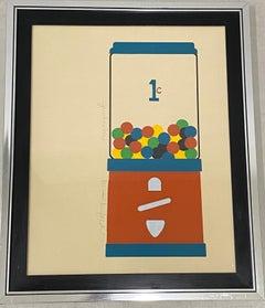 """Vintage Framed Serigraph """"Jawbreakers"""" by Lee Lerfald C.1977"""