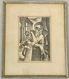 "Vintage Lithograph ""The Actor"" Pencil Signed and Titled C.1940"