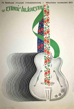 Vintage Poster of 4th Festival Music Mtodziezowej - Original Lithograph - 1973