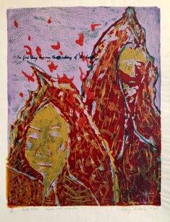 Vintage Vibrant Mod Divine Comedy Dante Inferno Virgil Woodblock Woodcut Print