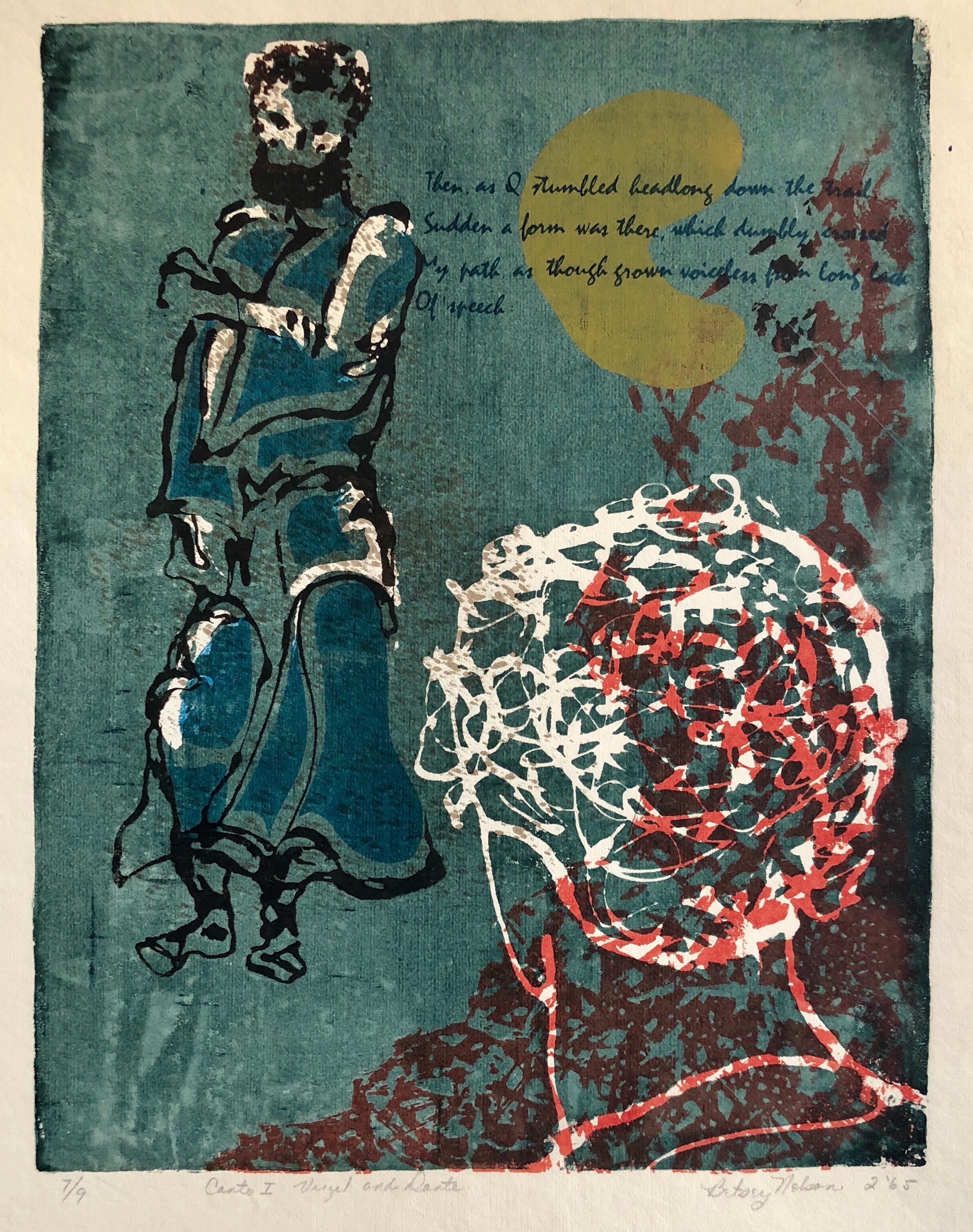 Vintage Vibrant Mod Divine Comedy Dante Virgil Woodblock Woodcut Print
