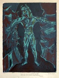 Vintage Vibrant Mod Mythological 1960's Psychedelic Woodblock Woodcut Print