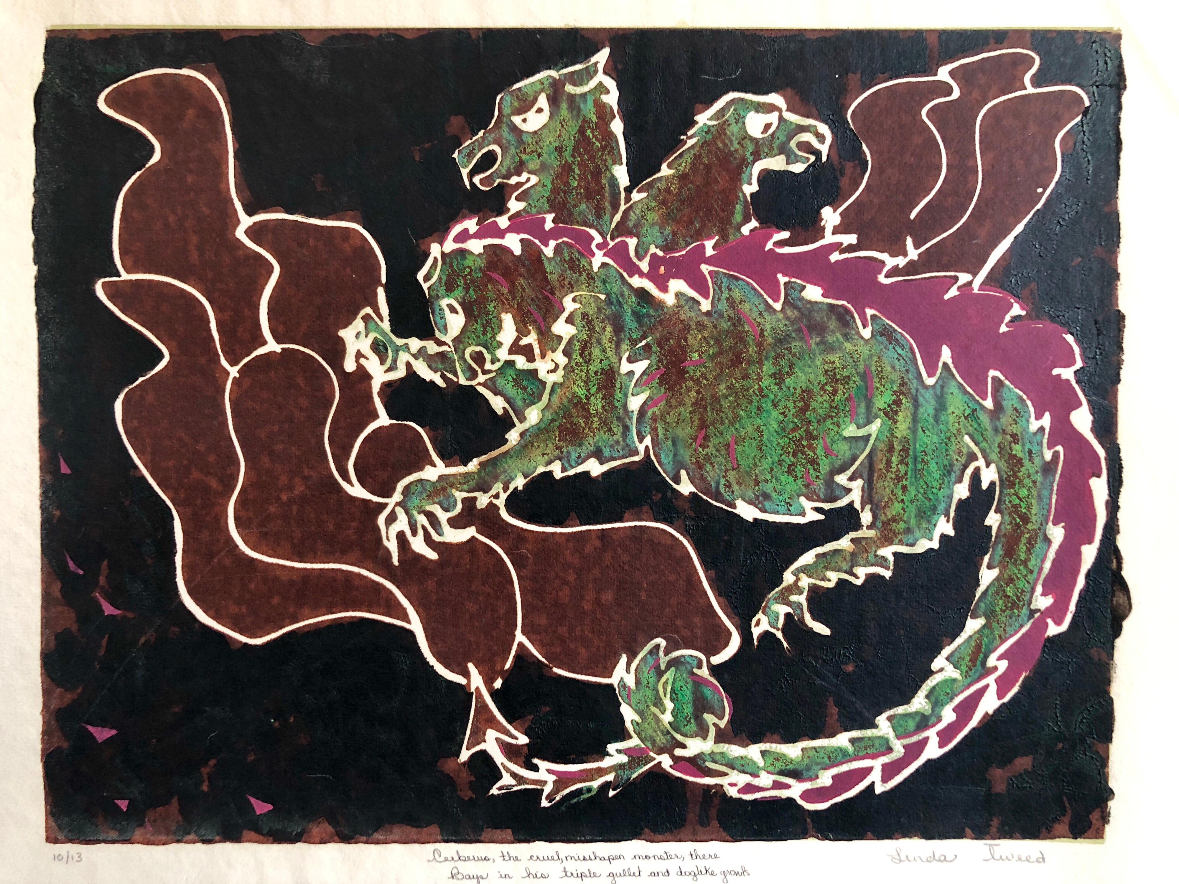 Vintage Vibrant Mod Mythological Dragon Psychedelic Woodblock Woodcut Print