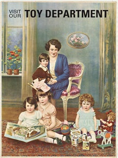 Visit our Toy Department original vintage chromolithograph poster