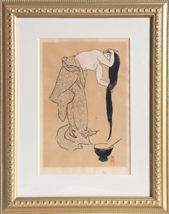 Washing Hair, Woodcut Print by Asaka c1950