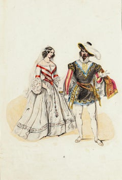 Wedding Costume - Original Lithograph - Mid 19th Century