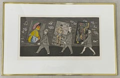 """Whimsical Color Etching """"Fire at the Moma"""" Signed / Numbered"""