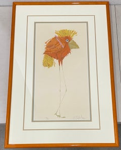 "Whimsical ""Long Legs"" Bird With Orange Feathers Signed Lithograph 20th C"