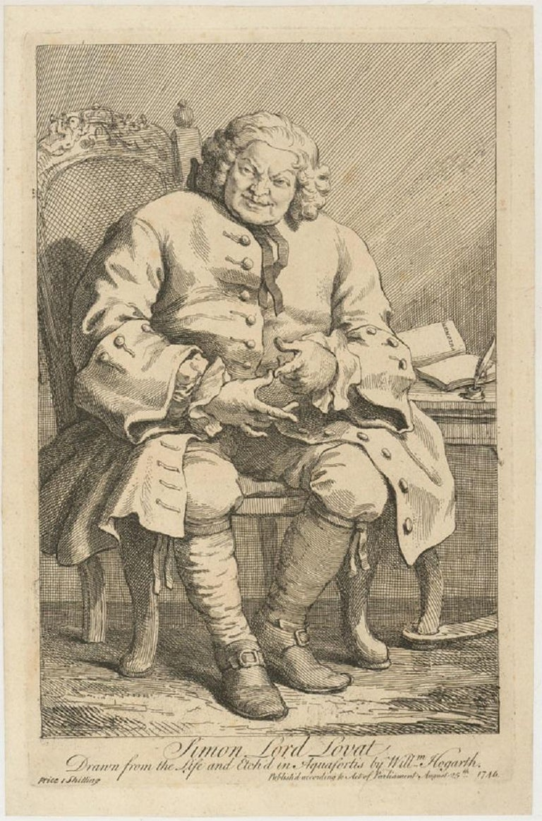 William Hogarth (1697-1764) - c.1775 Engraving, Simon, Lord Lovat - Print by Unknown