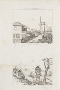 Windmill - Original Etching - 19th Century