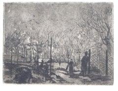 Winter Garden - Original Etching on Paper - 20th Century