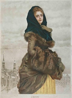 Winter - Vintage Chromolithograph - 1885
