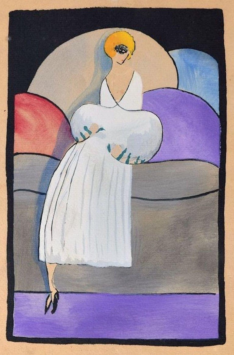 Unknown Figurative Print - Woman in White / Woodcut Hand Colored in Tempera on Paper - Art Deco - 1920s
