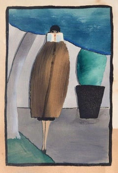 Woman with Coat / Woodcut Hand Colored in Tempera on Paper - Art Deco - 1920s