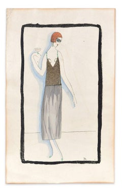 Woman with Drink - Woodcut Hand Colored in Tempera on Paper - Art Deco - 1920s