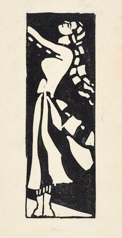 Woman with Raised Face - Original Woodcut y Anonymous Artist Early 1900