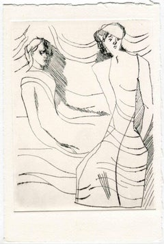 Women in the Wind - Original Etching and Drypoint - Mid-20th Century