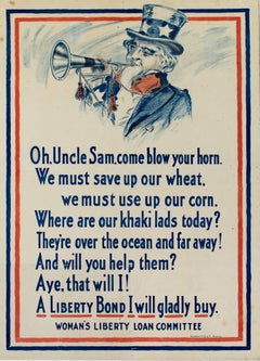 """""""World War I Poster - Uncle Sam,"""" Lithograph printed by Meisenheimer Milwaukee"""