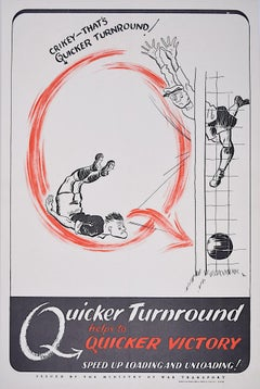 World War II Football poster Quicker Turnaround to Victory Ministry of Transport