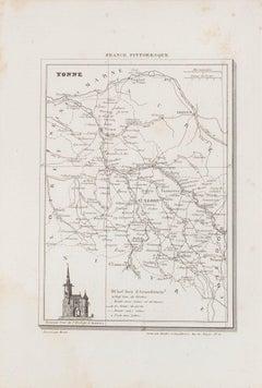 Yonne Map - Original Lithograph - 19th Century