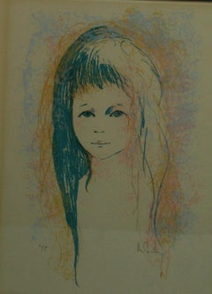 Young Girl in Blue Artist Proof Serigraph
