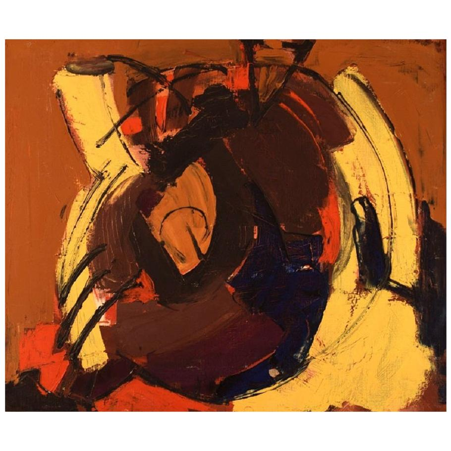 Unknown Scandinavian Artist, Oil on Canvas, Abstract Composition, 1960s