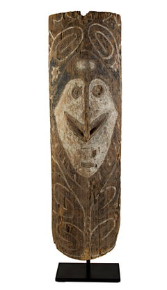 1/2 Shield made with carved wood and vegetable pigment from New Guinea