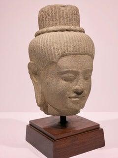 Head of Deity, Khmer, Cambodian sandstone sculpture