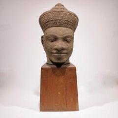 Head of Vishnu, Khmer, Cambodian bust sculpture