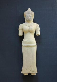12th Century Khmer Goddess Devata or Uma sculpture
