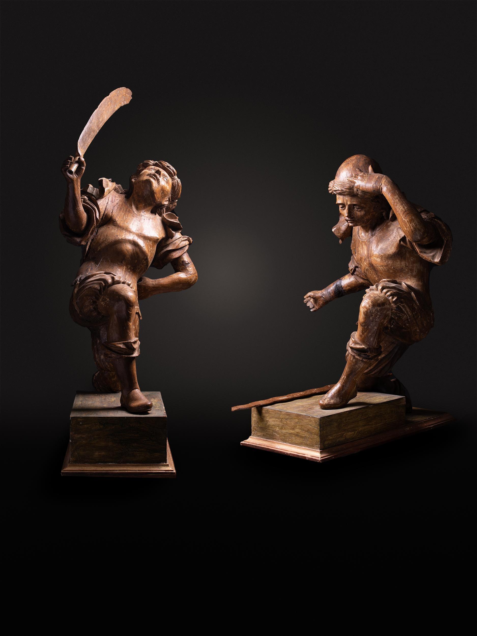 16th C, Renaissance, Dueling Soldiers, Oak