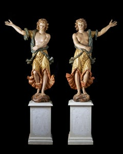 17Century Umbrian - Tuscany Wooden Statues Two Males Green Yellow White