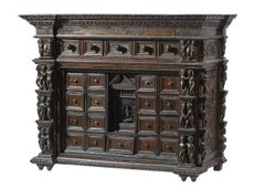 17th Century Cabinet Genoa Bambocci Walnut Black