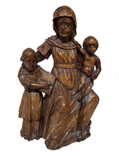 17th Century Italian Carved Wood Carving Of Virgin and Child with Saint Anne