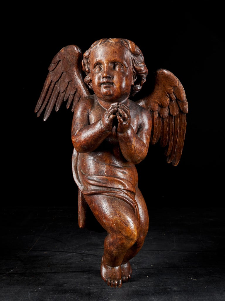 18th C, Late Baroque, Religious, Flemish Shool, Sculpture of an Angel For Sale 9