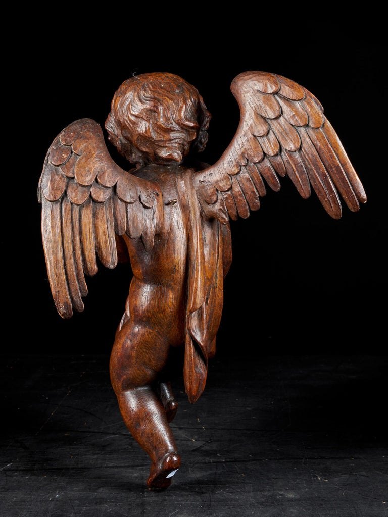 18th C, Late Baroque, Religious, Flemish Shool, Sculpture of an Angel For Sale 12