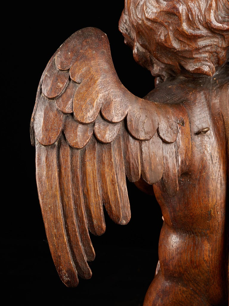 18th C, Late Baroque, Religious, Flemish Shool, Sculpture of an Angel For Sale 5