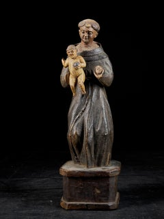 18th C., probably southern Europe, Wooden polychromed Sculpture of Saint Anthony