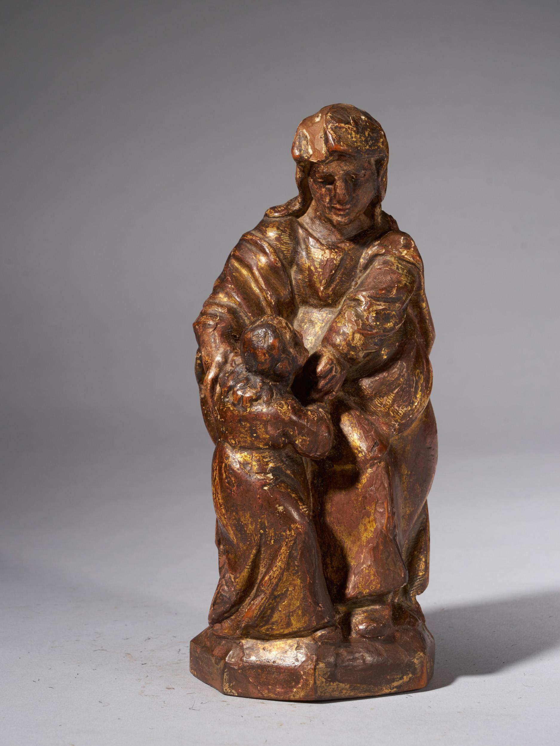 18th C, Religious, Spanish School, Partly Gilded Wooden Sculpture of Maria