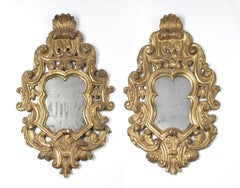 18th Century Louis XV Centre of Italy Pair of Mirors Carved and Gilded Wood Gold