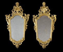 18th Century Louis XV Pair of Lombard Mirrors Carved and Gilded Wood Gold Yellow