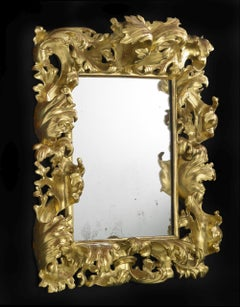 18th Century Louis XV Tuscany Mirror Carved and Gilded Wood Yellow Gold