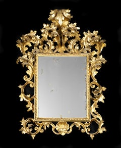 18th Century Louis XV Venetian Mirror Cartoccio Golden and Carved Wood Gold
