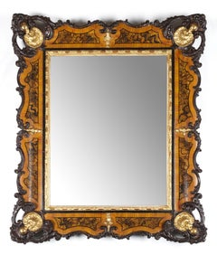 18th Century Louis XVI Piedmontese Mirror Carved and Gilded Wood Gold Brown