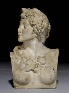 18th White Marble Rococo Style Sculpture Bust of Goddess Flora