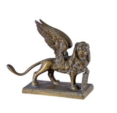 19-20th century Italian bronze sculpture - St Mark Lion - Venice Napoleon III