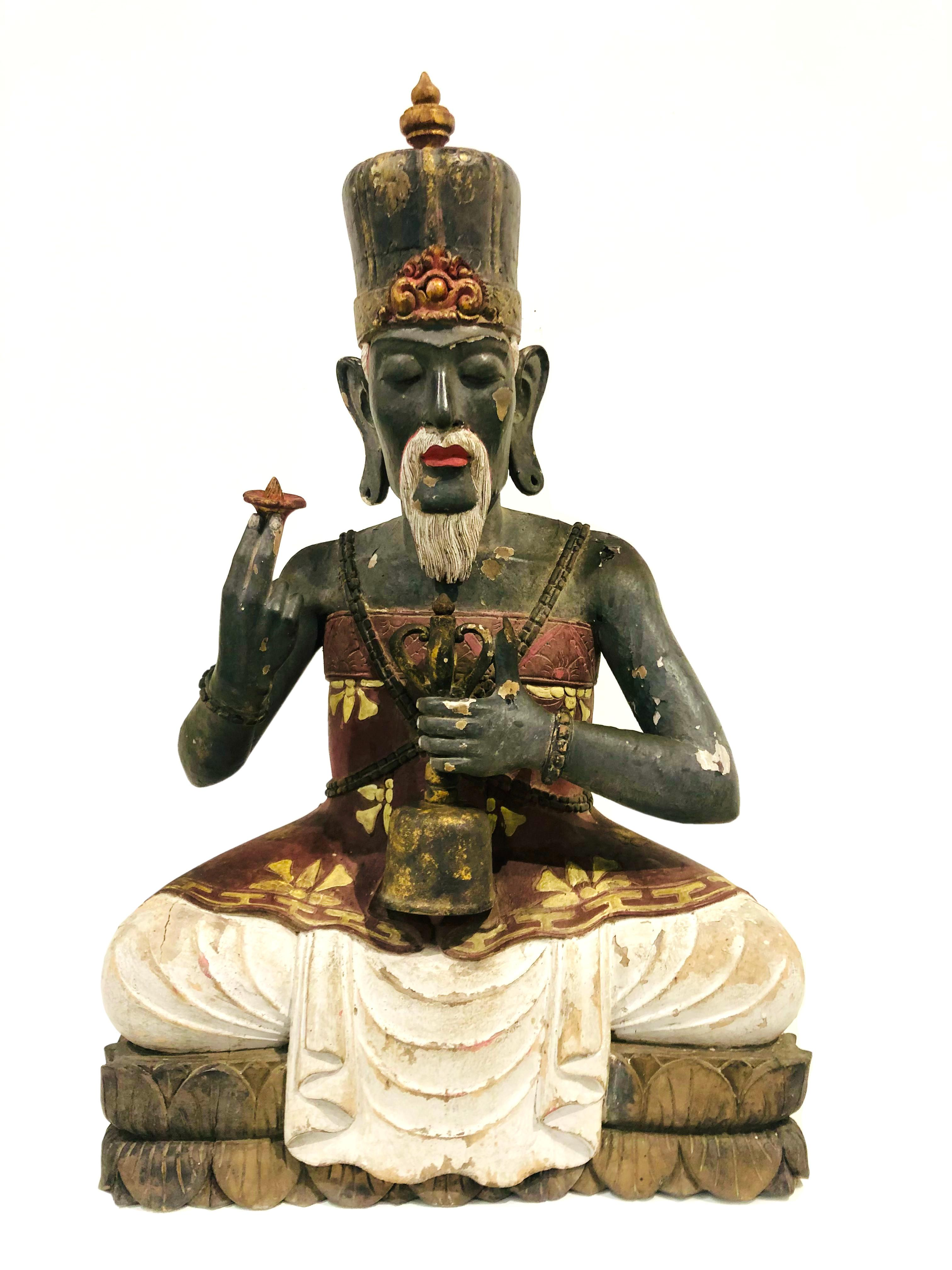 19th C. High Priest Sitting on Lotus Wood Sculpture Bali