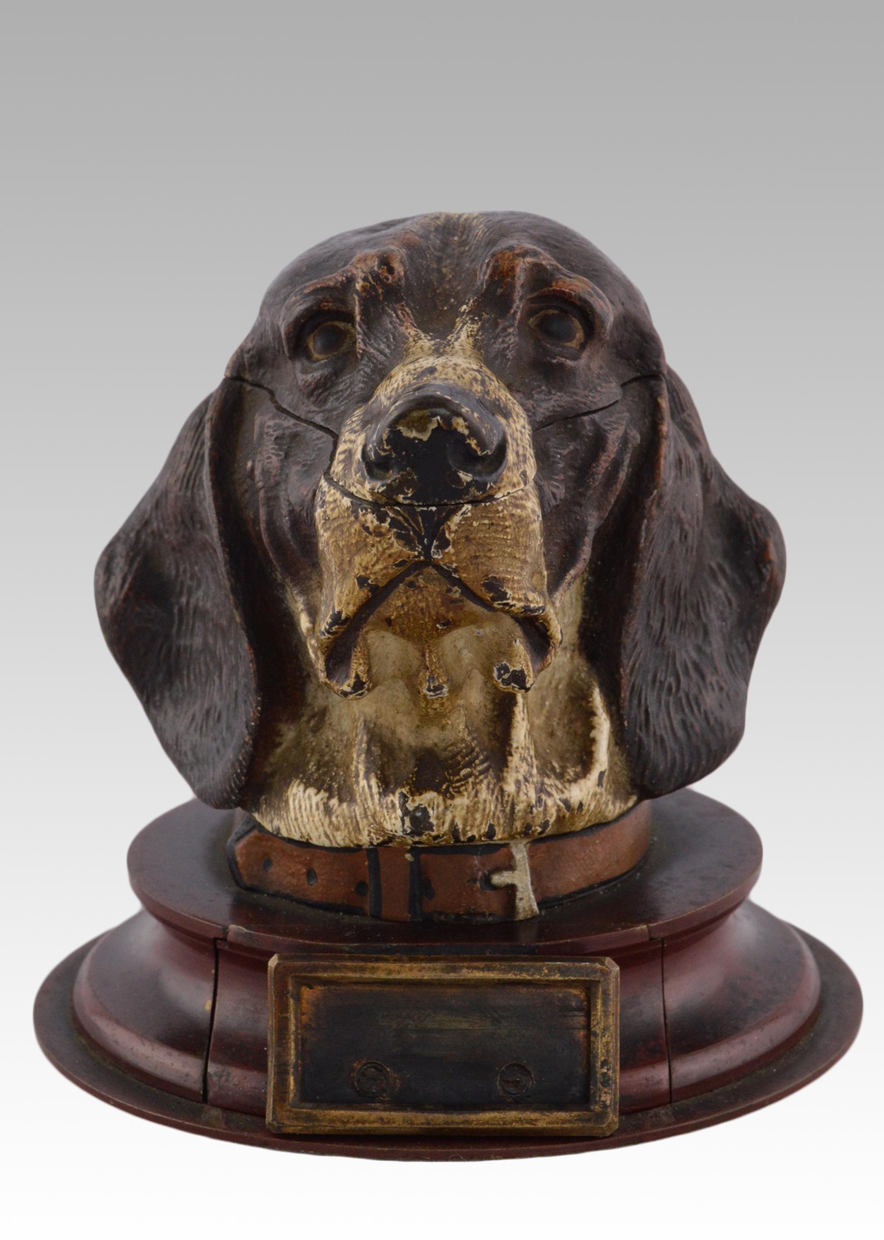 19th Century cold painted Vienna bronze hound inkwell sculpture